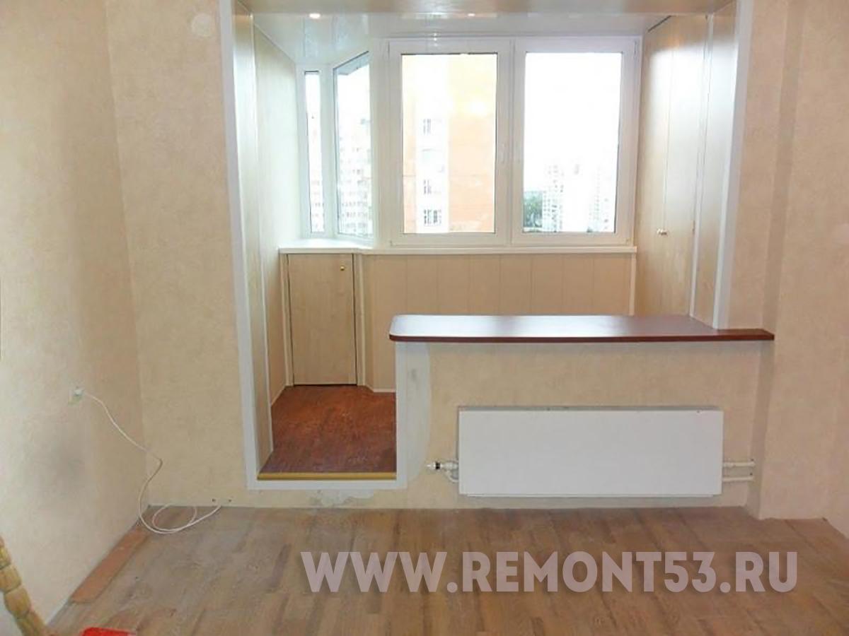 Отделка совмещенной комнаты с балконом. - ремонт окон дверей.